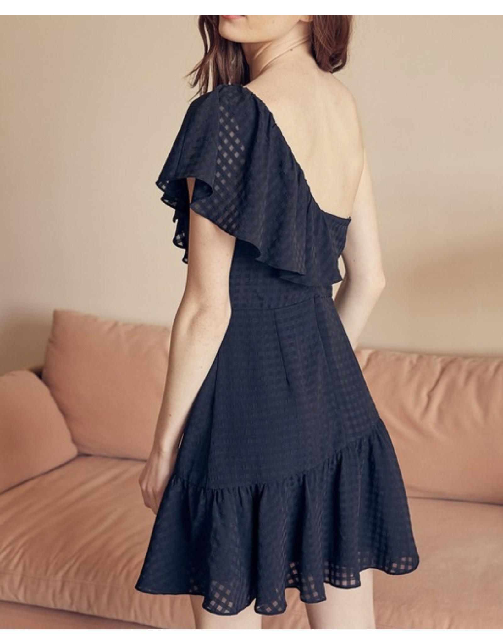 One Shoulders Ruffle Dress - Black