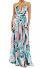 Peacock Chiffon Maxi Dress - Turquoise