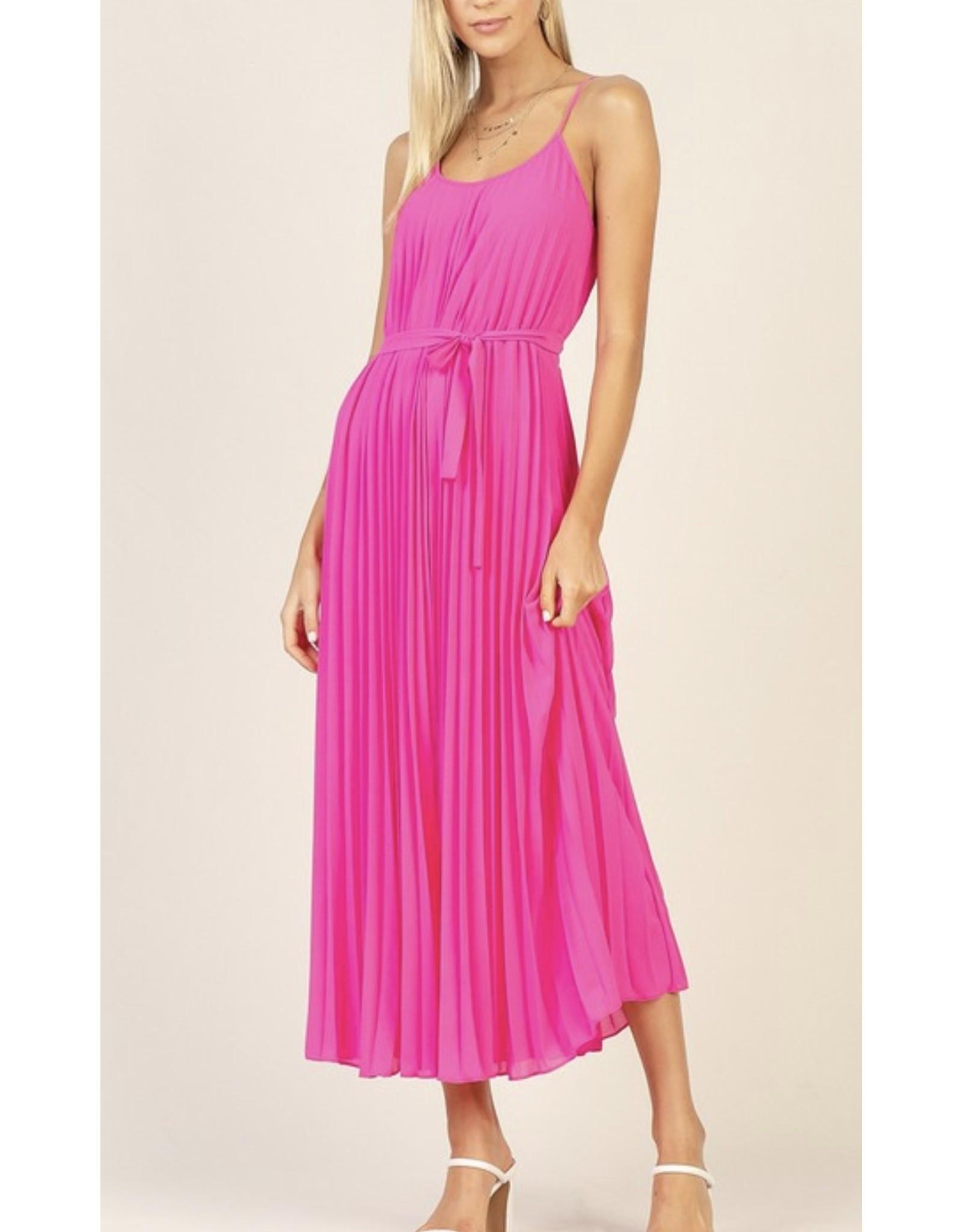 Pleated Maxi Dress - Pink