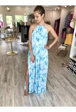 Floral Halter Maxi Dress - Blue