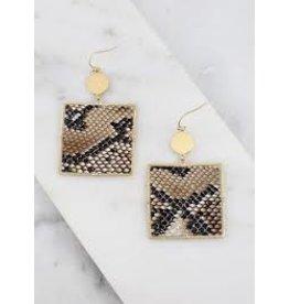 Square Snake Skin Earrings - Black