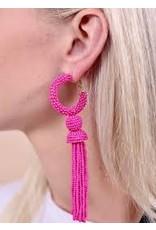 Seed Bead Tassel Hoop Earrings