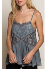 Lace Detail Cami Top - Charcoal