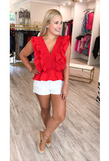 Smocked Ruffle Detail Top - Red