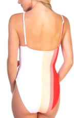 Striped Swimsuit - Red/Pink