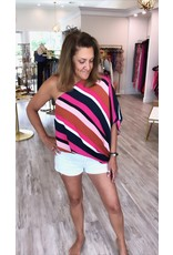 Striped One Shoulder Top - Navy