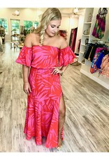Tropical Off Shoulders Maxi Dress - Red/Pink