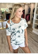 Cutout Shoulder Tie Dye Tee- Ivory