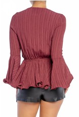 Textured Tie Detail Top - Wine