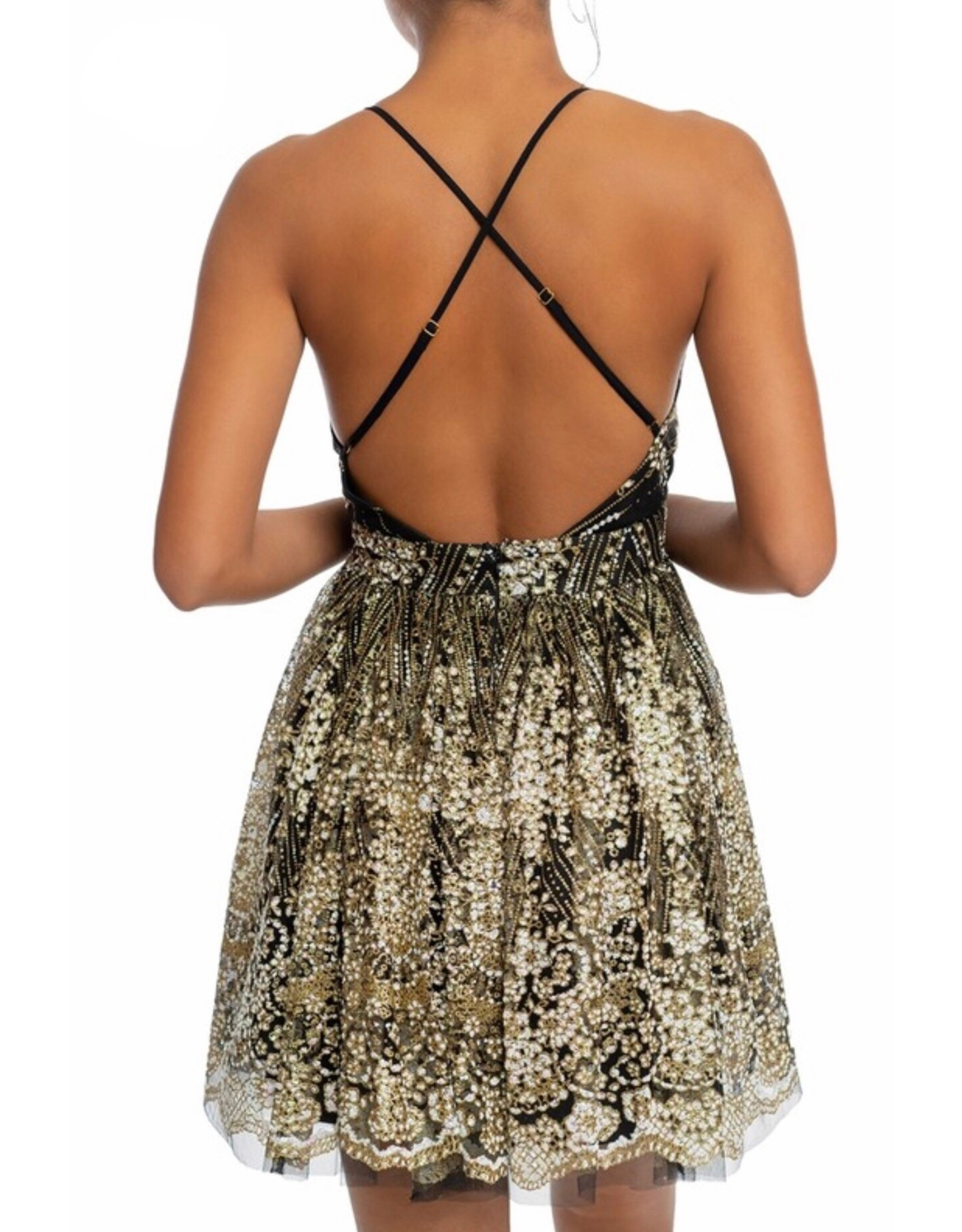 Glitter Floral Dress - Black/Gold