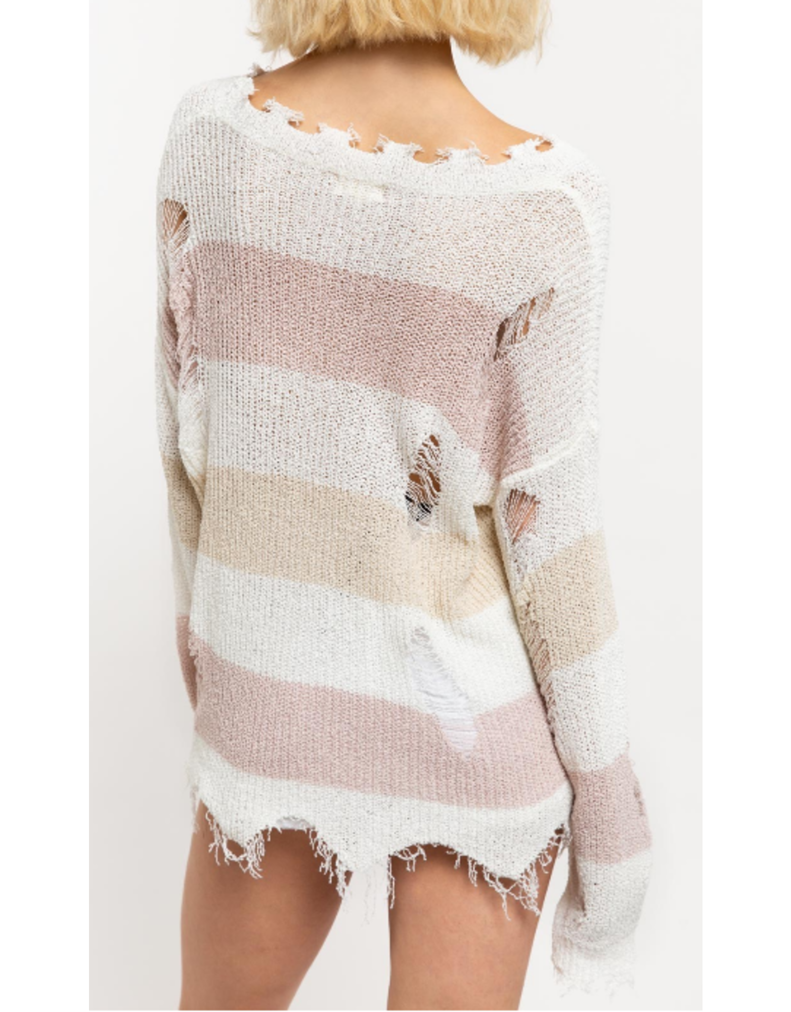 Lightweight Distressed Striped Sweater - Rose