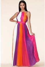 Latiste Pleated Halter Maxi Dress - PINK