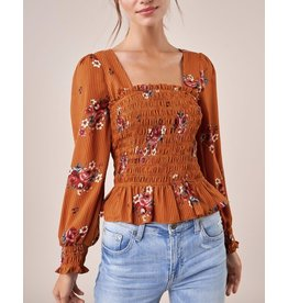 Sugarlips Floral Smocked Top - Rust