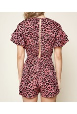 Sugarlips Leopard Open Back Romper - Pink