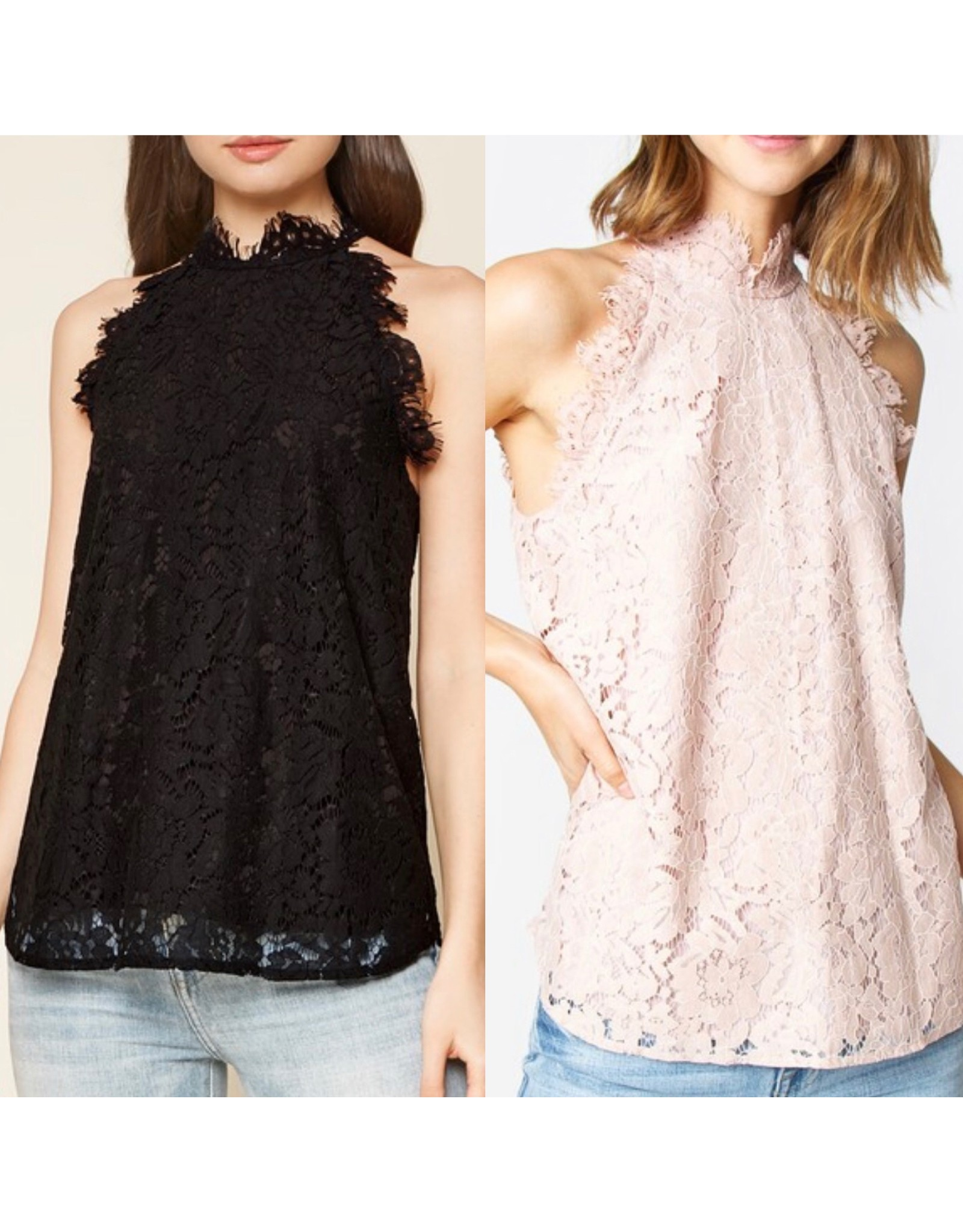 Sugarlips Lace Mock Neck Top