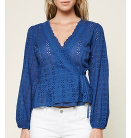 Sugarlips Eyelet Wrap Top - Dusty Blue