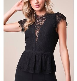 Sugarlips STT15272 Lace Peplum Top - BLACK