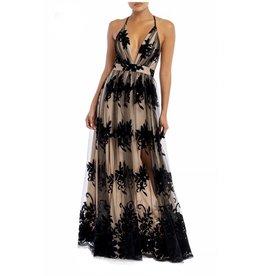 Floral Mesh Maxi Dress - Black/Nude