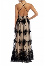 Floral Mesh Maxi Dress - Black/Nude