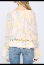 Floral Chiffon Top - Cream