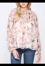 Smocked Detail Floral Top - Blush