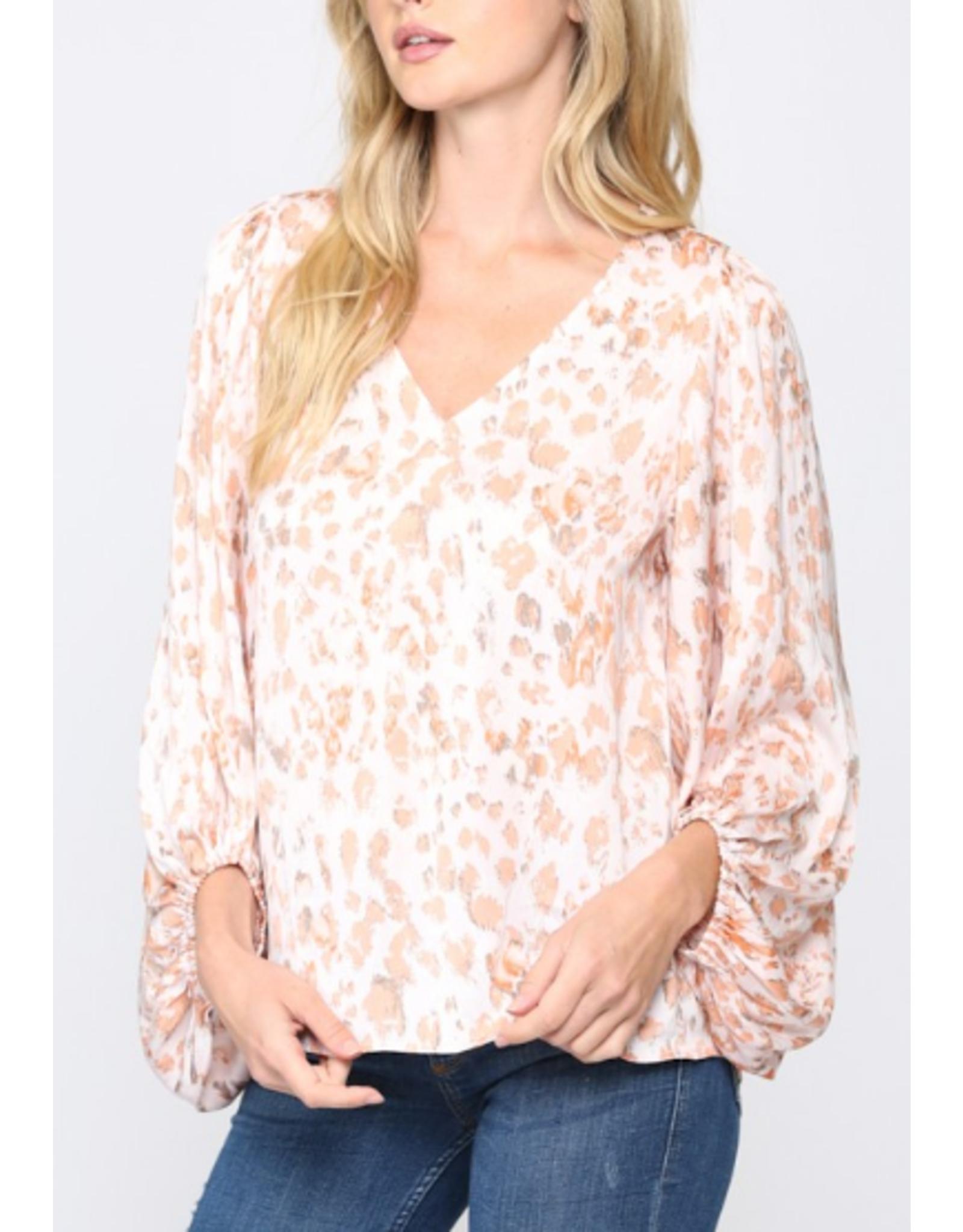 Leopard Bubble Sleeves Blouse - Coral