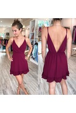 Open Back Ruffle Detail Dress - Wine