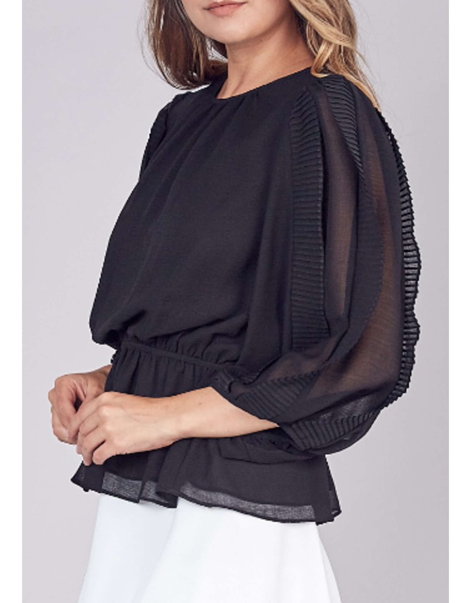 Pleated Sleeves Top - Black