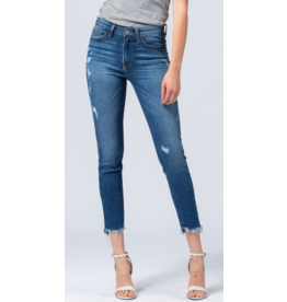 Mid Rise Frayed Crop Jeans