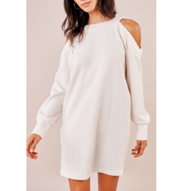 Sugarlips Cold Shoulder Sweater Dress - CREAM