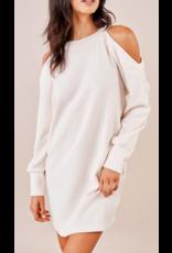 Sugarlips Cold Shoulder Sweater Dress - CREAM