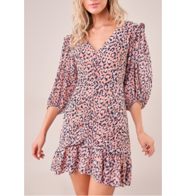 Sugarlips Ruched Ruffle Leopard Dress - PINK