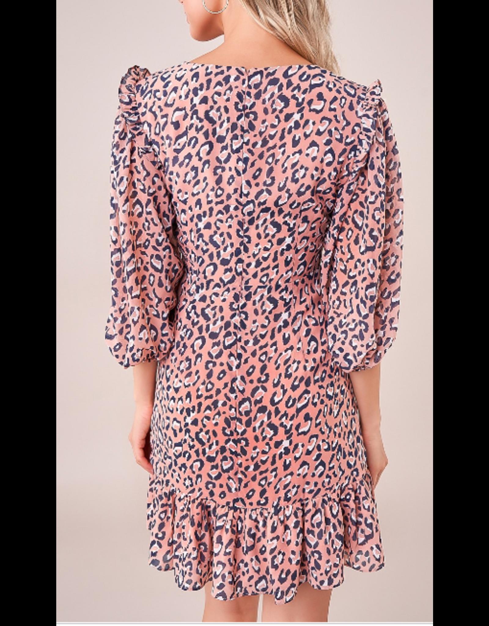Sugarlips Ruched Ruffle Leopard Dress - PINK