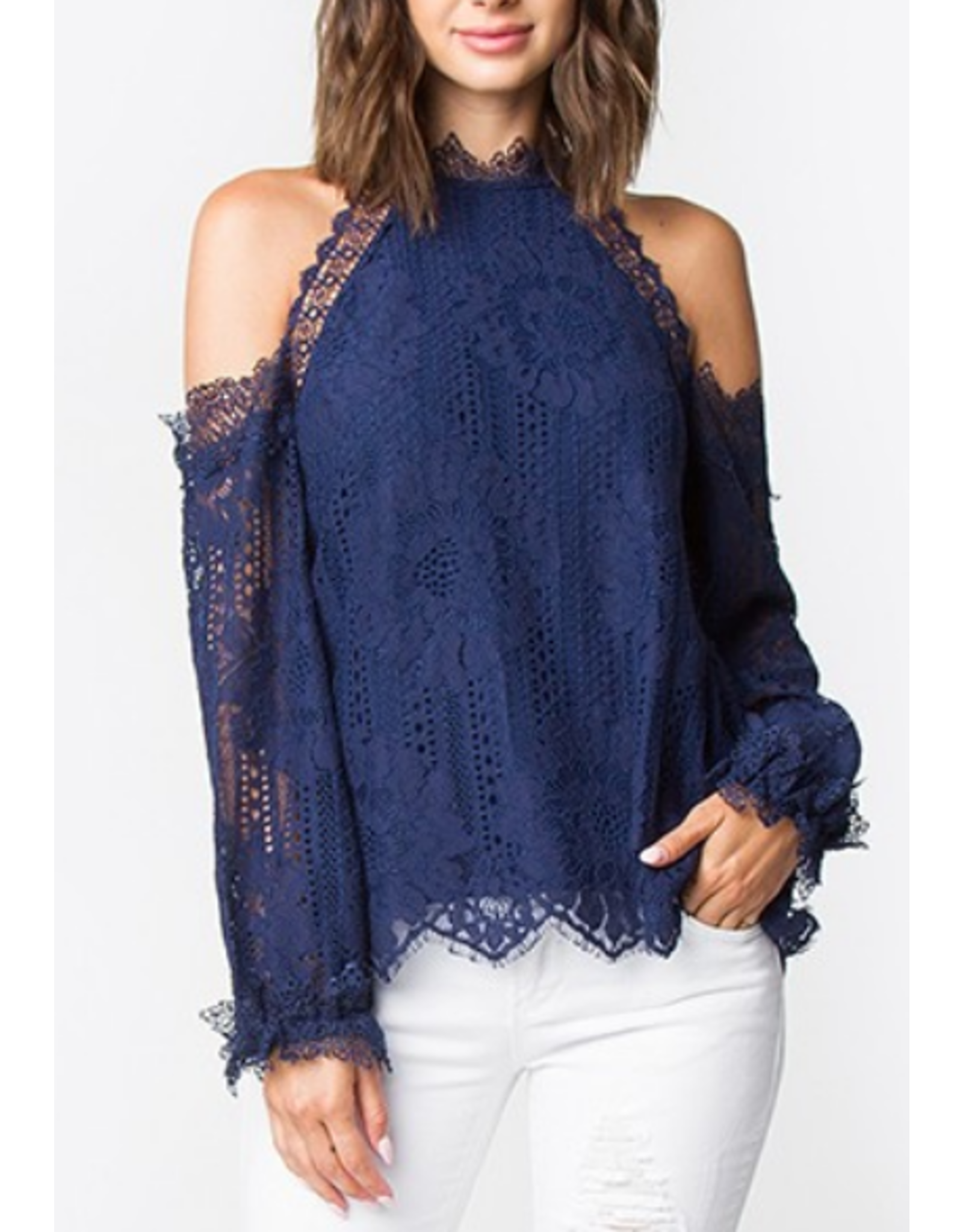 Sugarlips Lace Detail Cold Shoulder Top