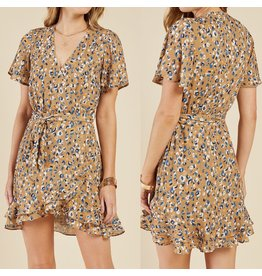 Sadie & Sage Leopard Wrap Dress - MUSTARD