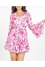 Floral Ruffle Dress - Fuchsia