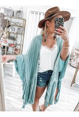 Crochet Trim Kimono - Emerald