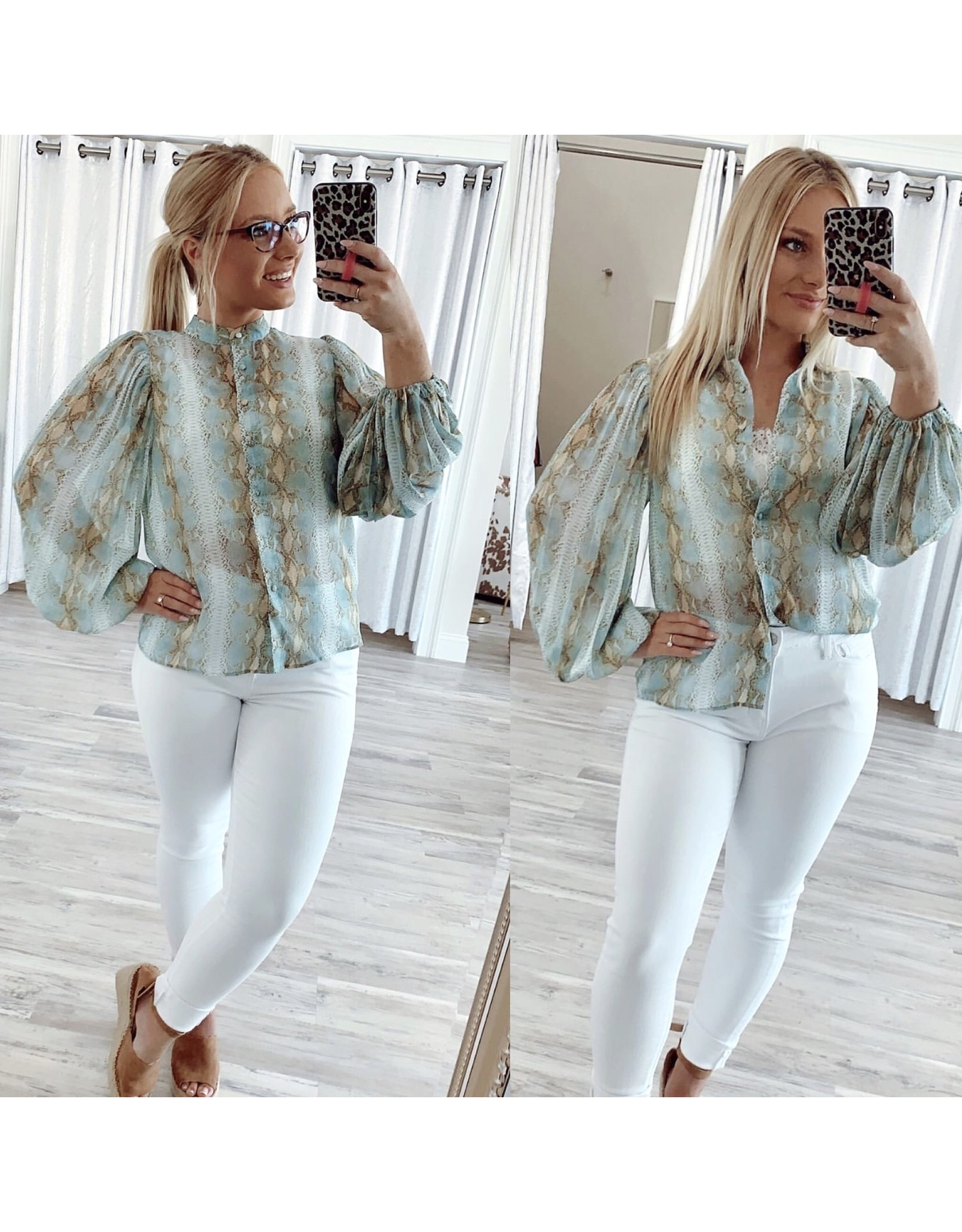 Lucy Paris Pleated Sleeves Snakeskin Top - Seafoam