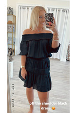 Ruffle Detail Off Shoulder Dress - Black