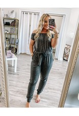 Off Shoulders Leopard Terry Jumpsuit - Charcoal