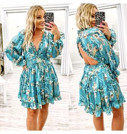 Open Back Paisley Dress - Blue