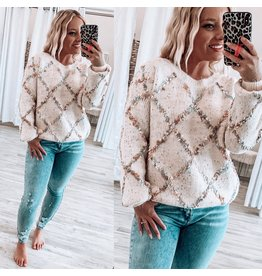 Mystree Popcorn Lurex Sweater - Ivory