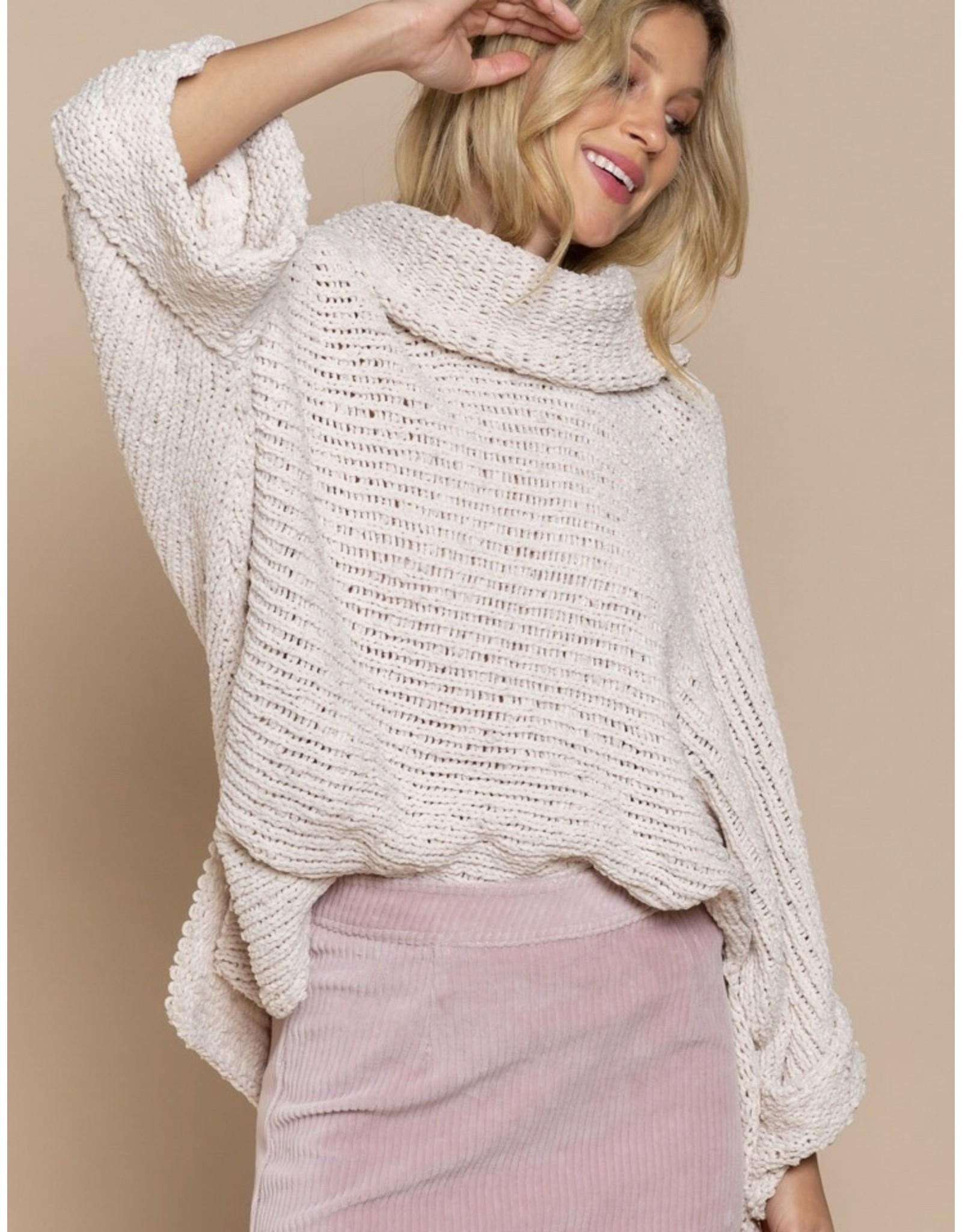 Oversized Turtleneck Sweater - Cream