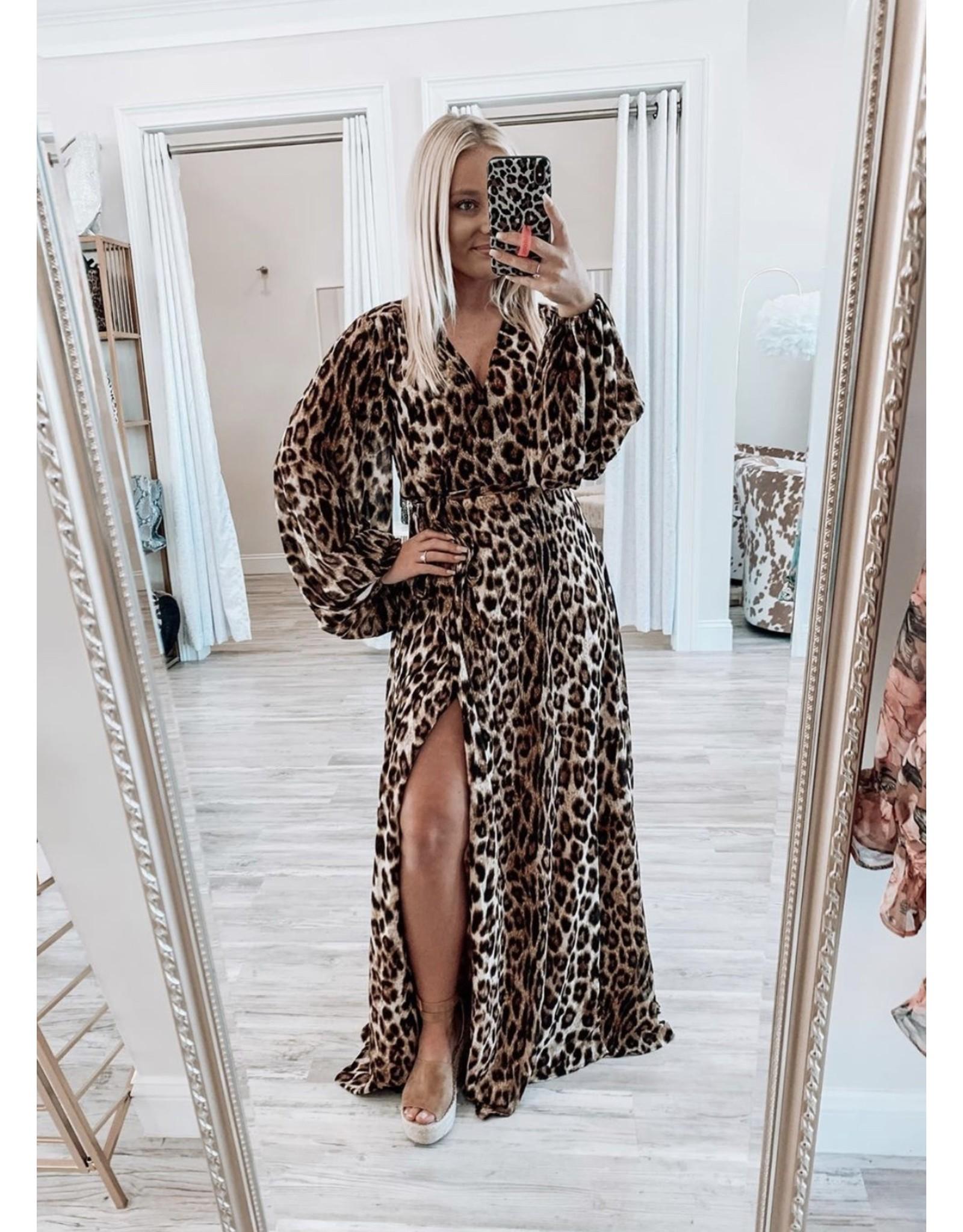 Leopard Maxi Dress - Brown