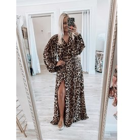 Leopard Maxi Dress - Brown