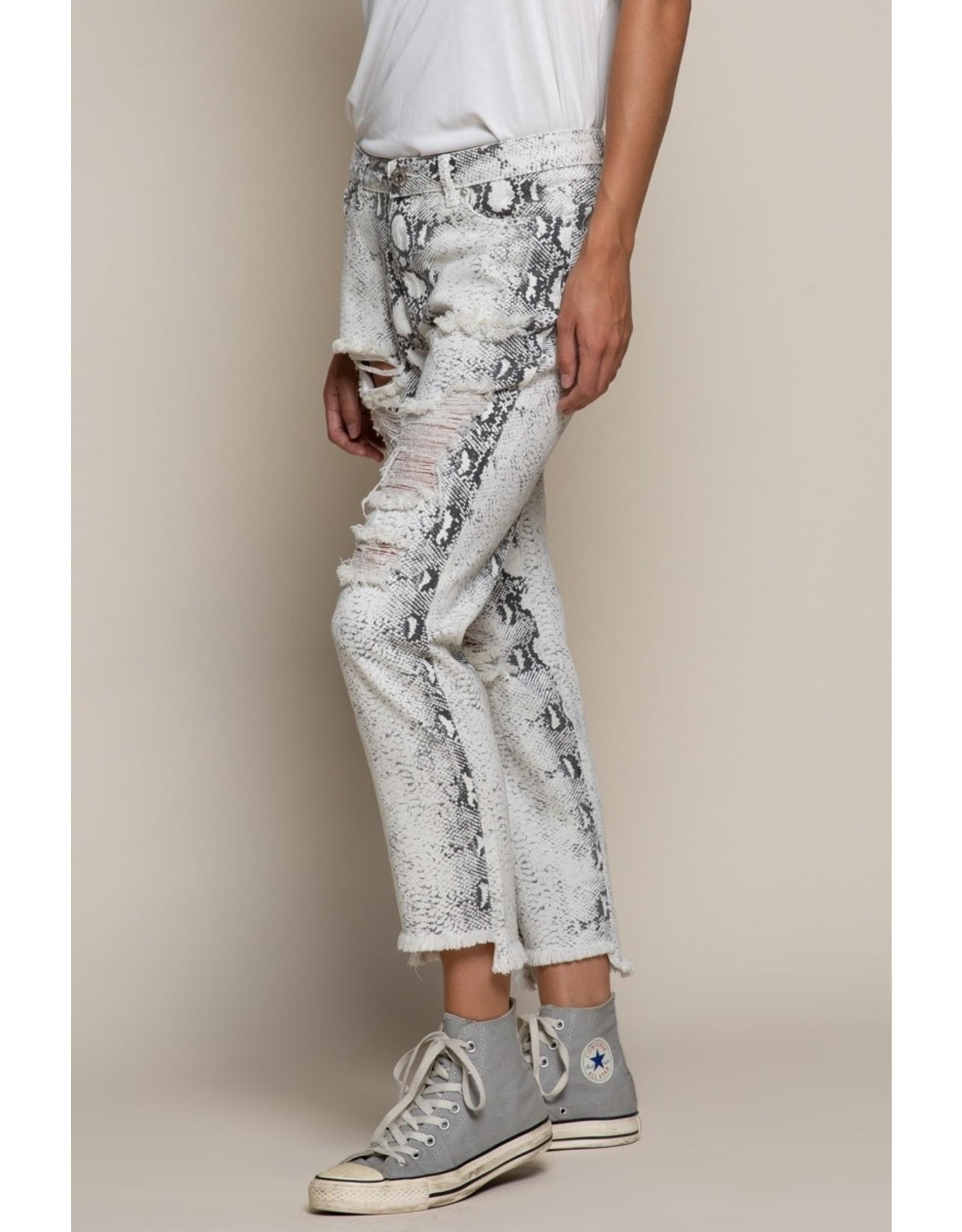 Distressed Snake Skin Jeans - White