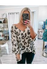 Leopard V Neck Sweater - Olive