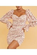 Zebra Scrunch Dress - Ivory/Rust