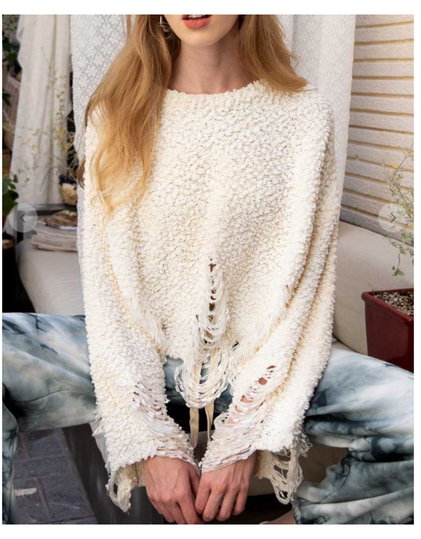 Distressed Popcorn Sweater