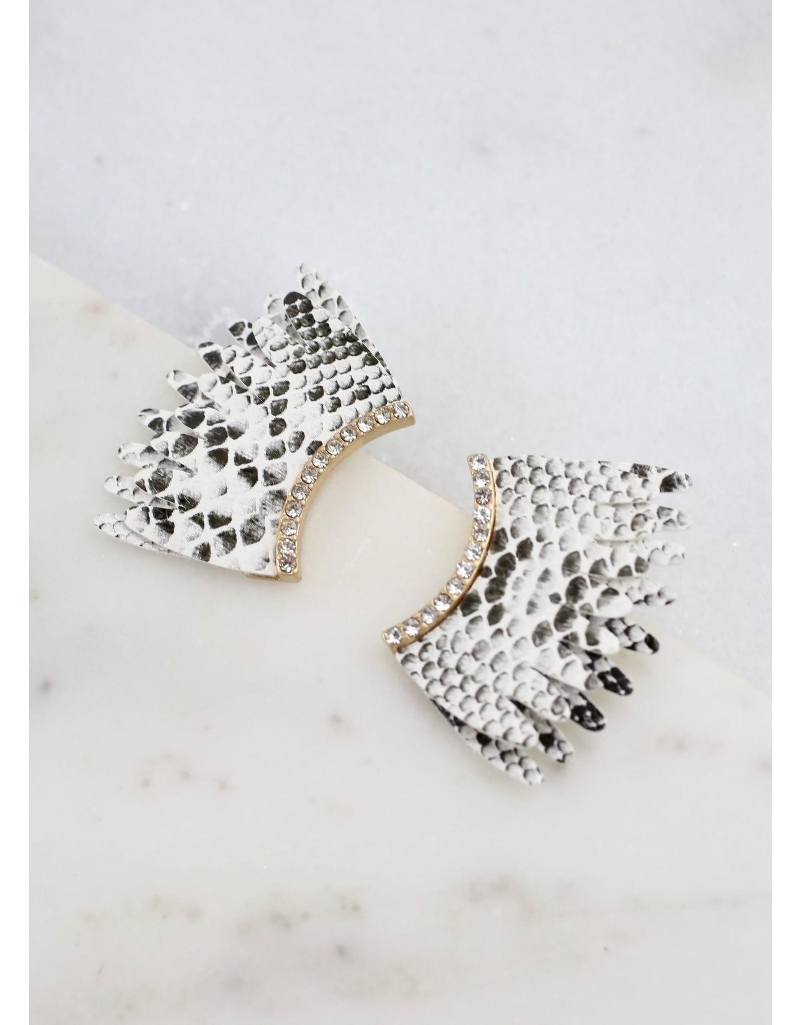 Lassie Snake Skin Fan Earrings